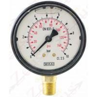 Manometro glic 1/4' attacco radiale. Filetto 1/4'. Diametro 63,0mm
